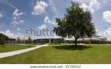 Panorama of High School Campus - stock photo