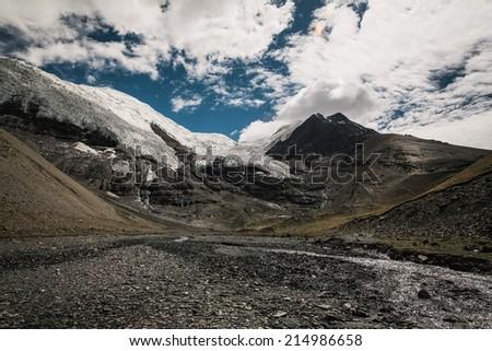 Panorama of Himalaya mountain landscape in Tibet - stock photo