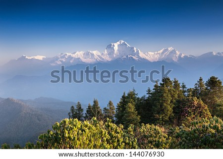 Panorama of Himalaya mountains, Annapurna conservation area, Nepal - stock photo