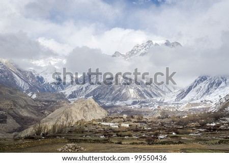 Panorama of Himalaya mountains in winter time