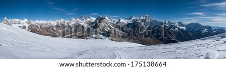 Panorama of Himalayas view from near Mera peak summit, Nepal - stock photo