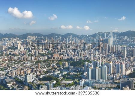 Panorama of Hong Kong City - stock photo
