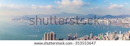 Panorama of Hong Kong Harbour in vintage tone, winter