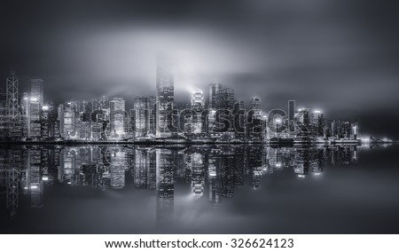 Panorama of Hong Kong island, skyline and Financial district, black and white, China