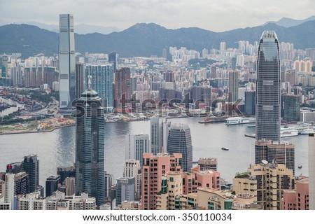 Panorama of Hong Kong, Kowloon and Victoria Harbour, Hong Kong - stock photo