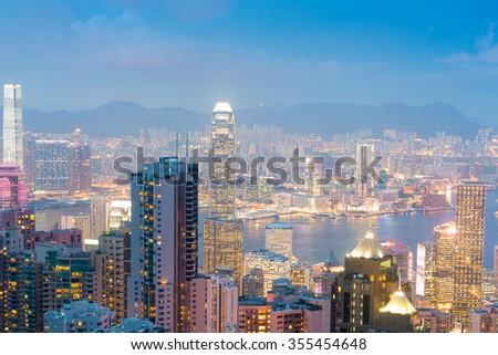 Panorama of Hong Kong skyline at night - stock photo