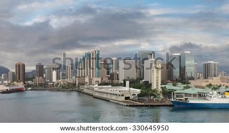 Panorama of Honolulu, Hawaii From the Bay at Sunset