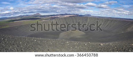 Panorama of Hverfjall volcanic crater near lake Myvatn in Iceland, one of the largest volcanic craters in the world with diameter of almost 800m at the top - stock photo
