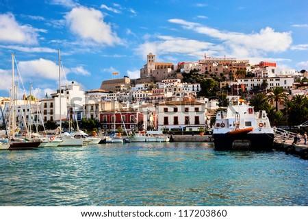 Panorama of Ibiza old city - Eivissa. Spain, Balearic islands - stock photo
