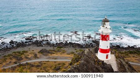 Panorama of ighthouse at Cape Palliser, North Island, New Zealand - stock photo