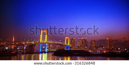 Panorama of illuminated Tokyo Night lights Concept