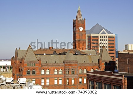 Panorama of Indianapolis. Union Station in the main plan. - stock photo