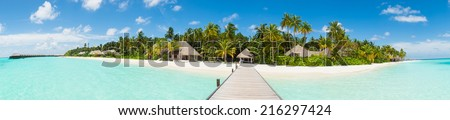 Panorama of island resort in Maldives - stock photo