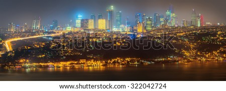 Panorama of Istanbul and Bosporus at night, Turkey - stock photo