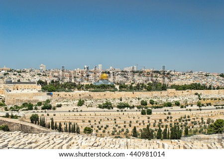 panorama of Jerusalem with of the Temple Mount and Dome of the Rock and Al Aqsa Mosque from the Mount of Olives - stock photo