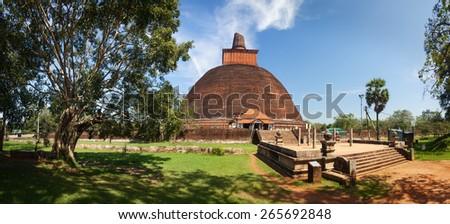Panorama of Jetavan Dagoba in UNESCO, Anuradhapura, Sri Lanka, Asia - stock photo
