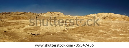 Panorama of judean deser near of the Dead Sea - Israel - stock photo