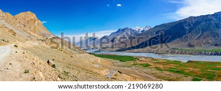 Panorama of Kee (Ki, Key) Monastery and Spiti Valley,  Himachal Pradesh, India