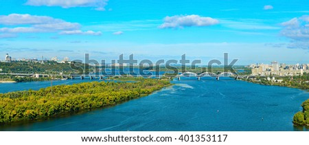 Panorama of Kiev - capital of Ukraine. Left and right bank of Dnieper river.