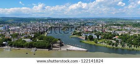 Panorama of Koblenz with German Corner (Deutsches Eck) at the confluence of Rhine and Mosel rivers with equestrian statue of William the Great, Germany - stock photo