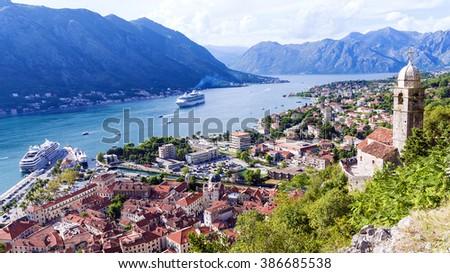 Panorama of Kotor, Montenegro - stock photo