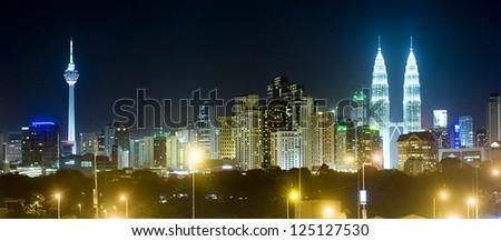 Panorama of Kuala Lumpur at night. Malaysia - stock photo