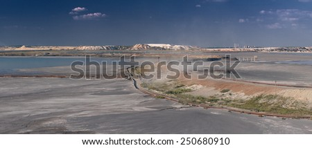 Panorama of Kursk Magnetic Anomaly industrial area with developed man-made desert, Belgorod region in southern Russia