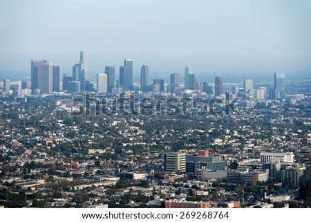 Panorama of LA los angeles from mulholland drive - stock photo