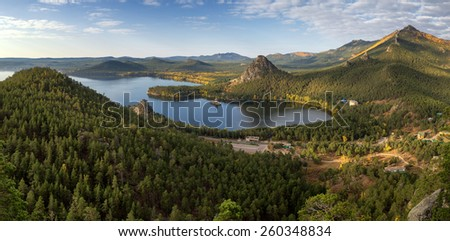 Panorama of Lake Burabay (Borovoe) in Natonal park Burabay (Borovoe), Kazakhstan  - stock photo