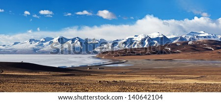 Panorama of Lake Manasarovar and Gurla Mandhata Peak, Western Tibet. According to the Hindu religion, the lake was first created in the mind of the Lord Brahma after which it manifested on Earth - stock photo