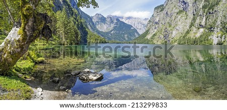 Panorama of lake Obersee in Berchtesgaden, Bavaria, Germany