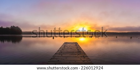 panorama of lake Schwarzer See, Mecklenburgische Seenplatte in Germany - stock photo