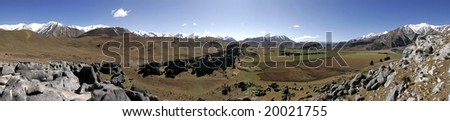 Panorama of landscape in New Zealand - stock photo