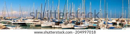 Panorama of Larnaca marina. Cyprus - stock photo