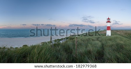 Panorama of Lighthouse List East on Sylt. - stock photo