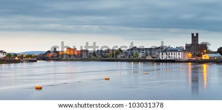 Panorama of Limerick city at dusk, Ireland - stock photo