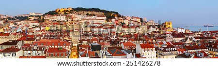Panorama of Lisbon Old Town at dusk. Portugal  - stock photo