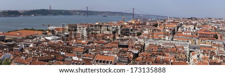Panorama of Lisbon Portugal on Tagus River - stock photo