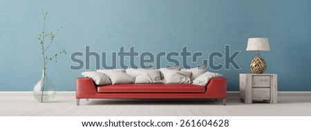 Panorama of living room with sofa in front of a blue wall (3D Interior) - stock photo
