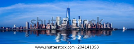 Panorama of lower Manhattan of New York City from Exchange Place at dusk with World Trade Center at full height of 1776 feet - stock photo