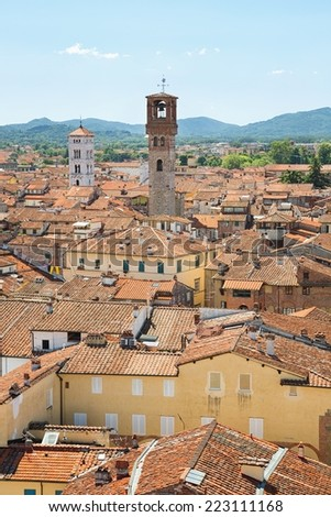 Panorama of Lucca from the Torre Guinigi  - stock photo