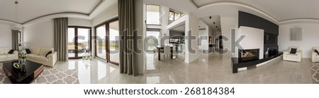 Panorama of luxury mansion in modern design - stock photo