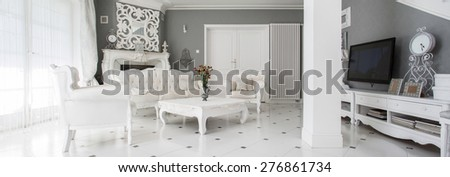 Panorama of luxury vintage style family room