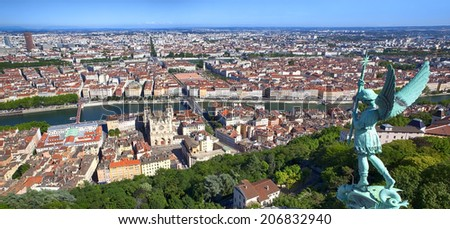 Panorama of Lyon, France, viewed from the top of Notre Dame de Fourviere. - stock photo