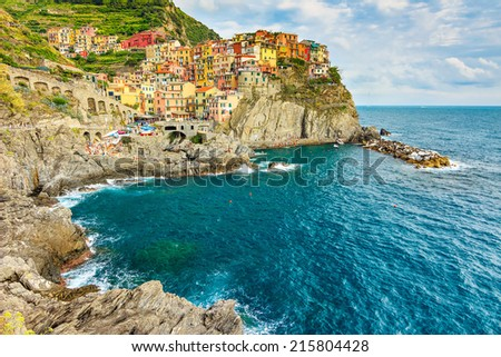 Panorama of Manarola, Cinque Terre National Park, Liguria, Italy. - stock photo