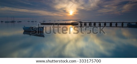 Panorama of Mar Menor lagoon, from Los Alcazares, Murcia, Spain at dawn