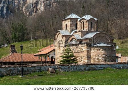 Panorama of medieval Poganovo Monastery of St. John the Theologian, Serbia - stock photo