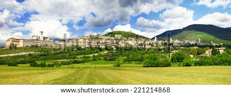 panorama of medieval town of Assisi, Umbria , Italy  - stock photo