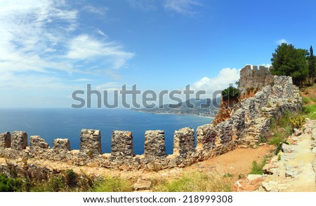 panorama of mediterranean sea - view from fortress Alanya Turkey - stock photo