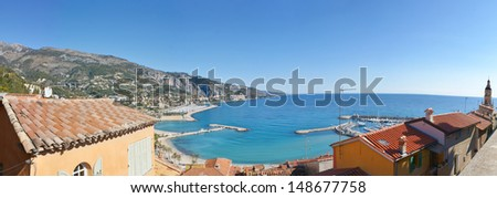 panorama of menton harbour made from the hill, provence-alpes-cote d'azur region, france - stock photo